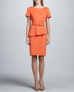 Albert Nipon Jacquard Peplum Skirt Suit