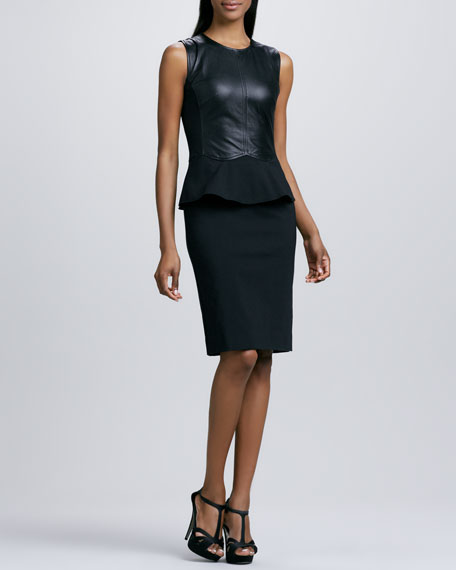 Peplum Dress with Paneled Leather