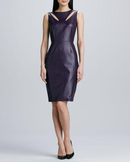 Teardrop Cutout Leather Dress