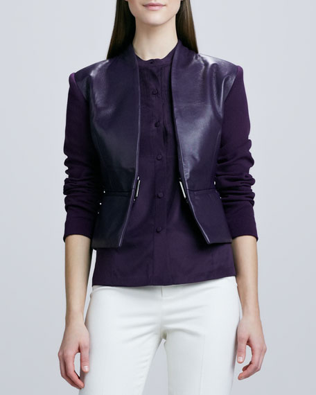 Structured Leather Knit Jacket