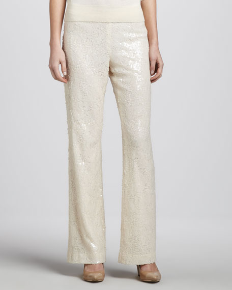 Sequined Mesh Pants