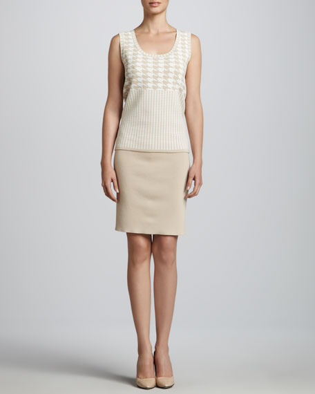 Smooth-Knit Pencil Skirt, Crystal Beige