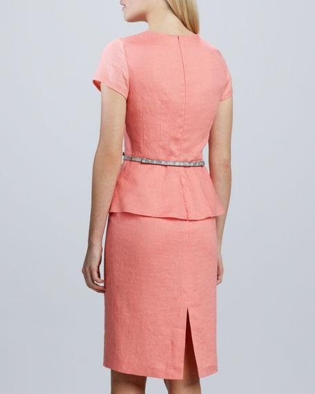 Short Sleeve Linen Peplum Dress