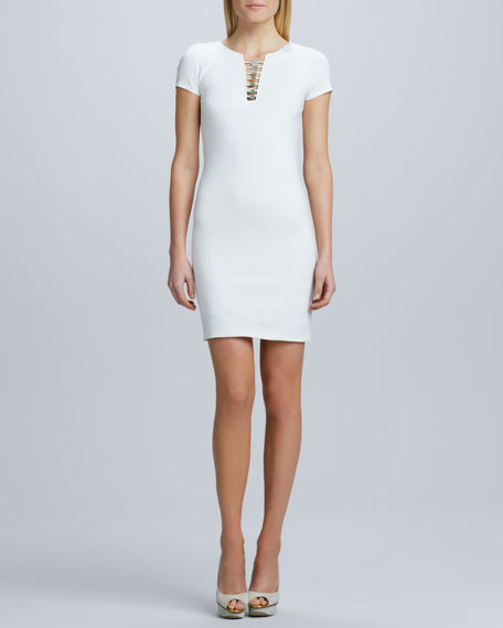 Ponte Embellished Neck Dress