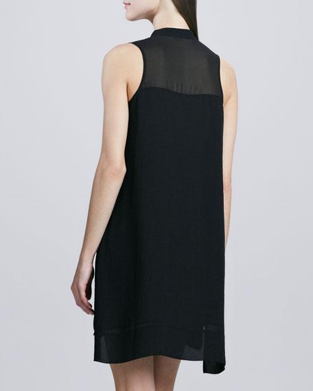 Sleeveless Chiffon Shirt Dress