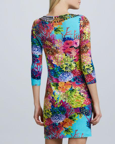 Stud Beaded Coral-Print Dress