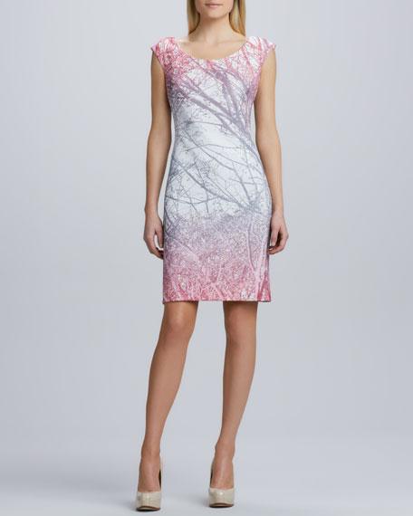 Scoop-Neck Branch-Print Dress