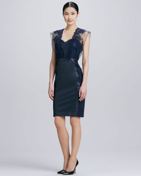 Embroidered Lace Leather Cocktail Dress