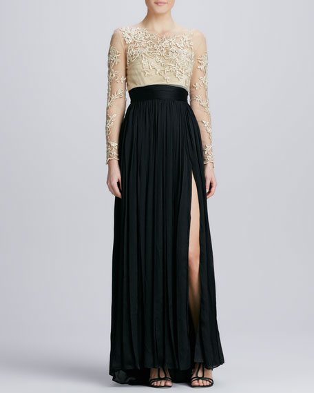Embroidered Bodice Combo Georgette Gown