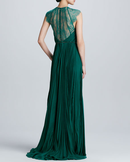 Lace Pleated Chiffon Gown