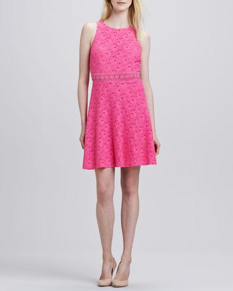 Lace Flare Back Cutout Dress