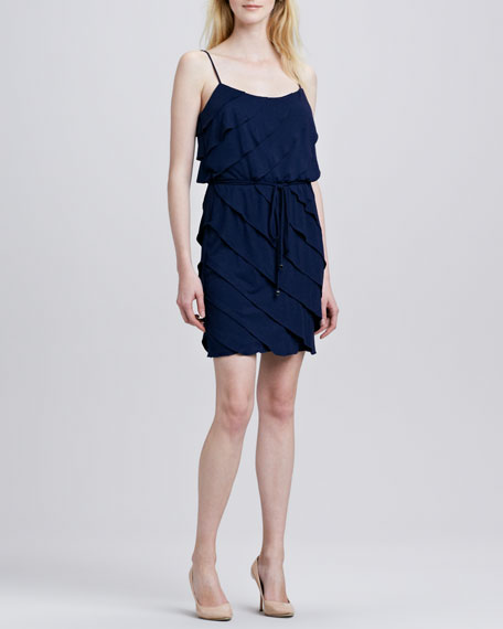 Ruffled Tiered Belted Dress