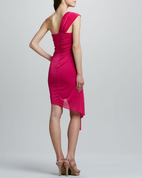 Ponte Dress with Draped Overlay