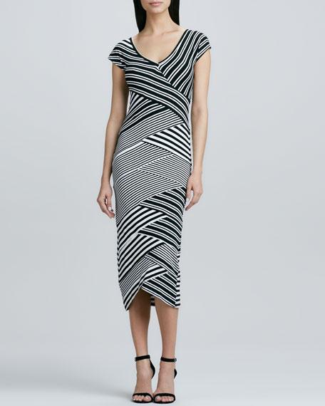 Bias Striped V-Neck Maxi Dress