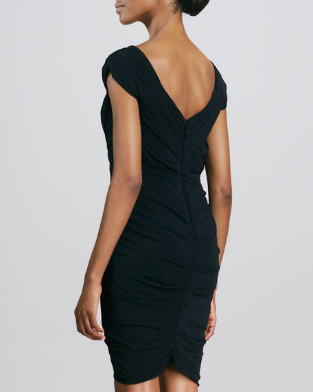 Draped Jersey Cocktail Dress