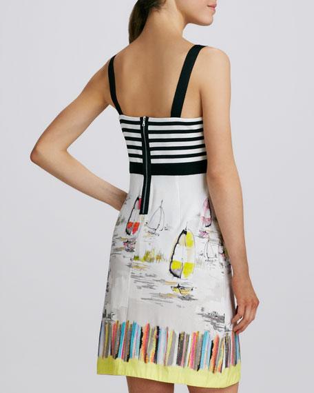 Striped-Bodice Printed-Skirt Dress