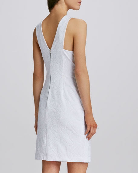 Sleeveless Ruched Jewel-Neck Dress