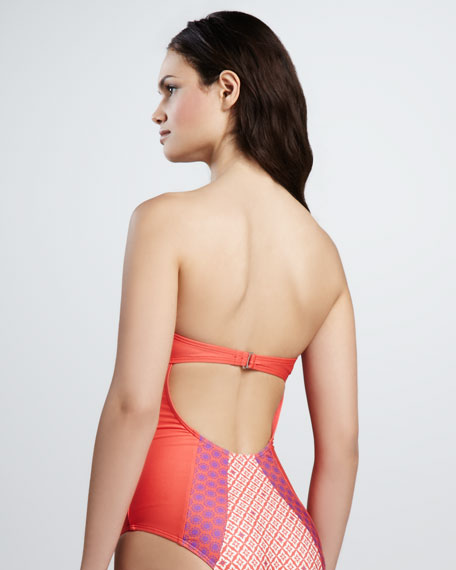 Sun Tile Bandeau One-Piece Swimsuit