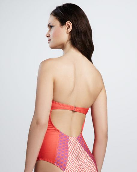 Sun Tile Bandeau One-Piece Swimsuit