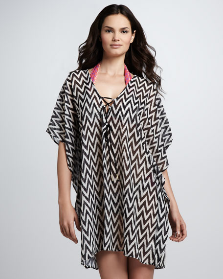 Mazzy Chevron-Print Tunic Coverup