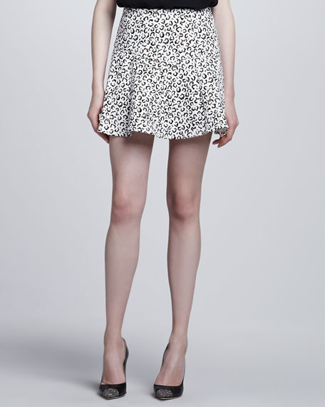 Yoked Animal-Print Skirt