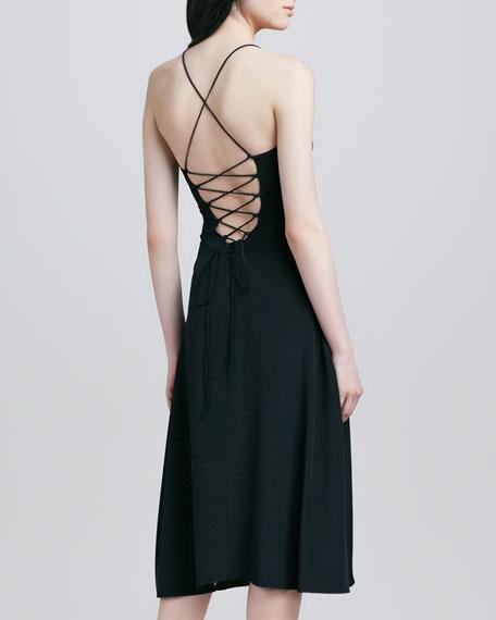 Strappy-Back Silk Dress