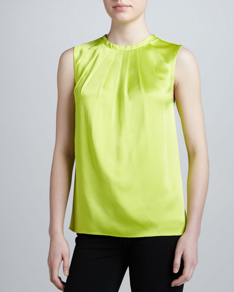 Pleated Satin Top, Acid
