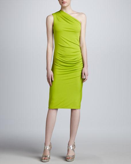 One-Shoulder Jersey Sheath Dress, Lime
