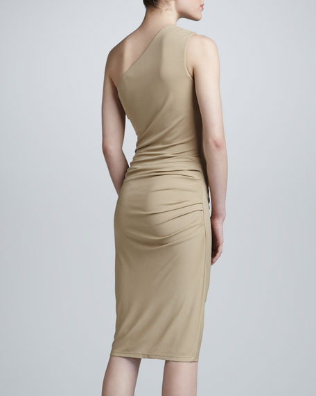 One-Shoulder Jersey Sheath Dress, Khaki