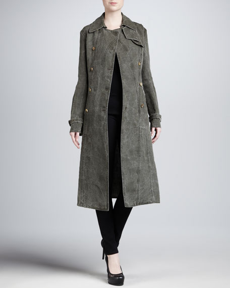 Seamed Cotton Trenchcoat
