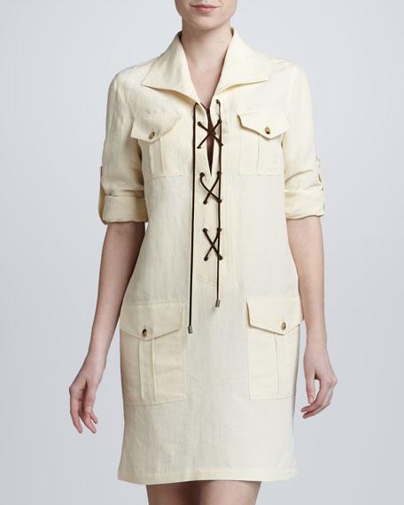 Lace-Up Safari Dress, Ivory