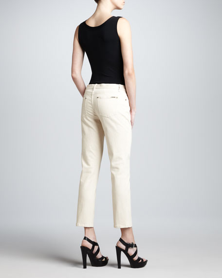 Cropped Skinny Jeans, Ivory