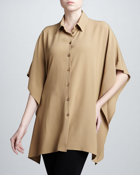 Kimono-Sleeve Crepe Blouse, Sage