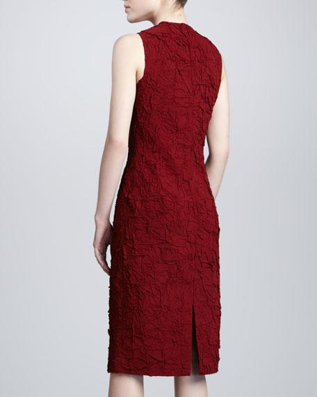 Textured Silk-Cotton Sheath Dress