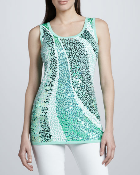Mint Wavy Sequined Shell