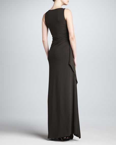 Draped Boat-Neck Gown