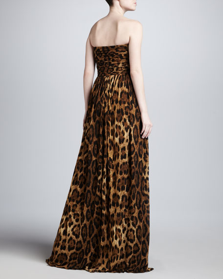 Leopard-Print Sweetheart Gown