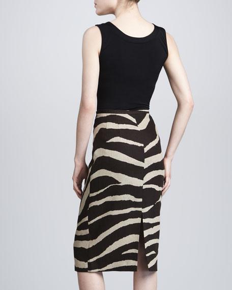 Zebra-Print Linen Pencil Skirt