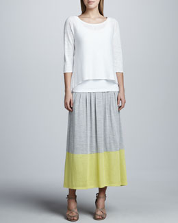 Eileen Fisher Long Colorblock Jersey Skirt