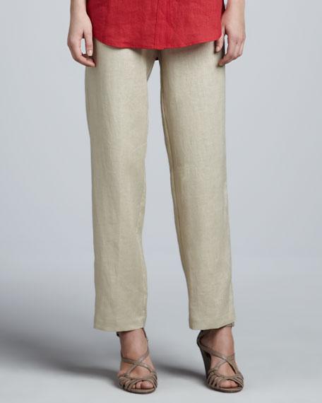 Unlined Linen Straight-Leg Pants