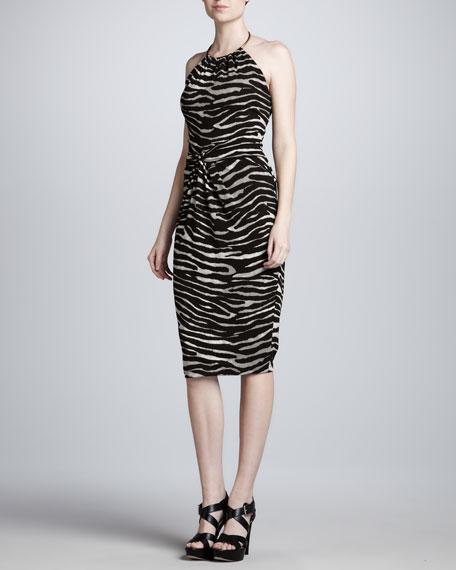 Zebra-Print Ring-Halter Dress