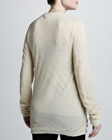 Bias-Ruched Long-Sleeve Tee