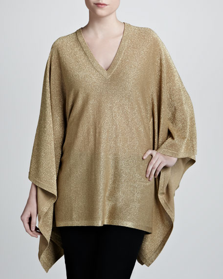 Metallic V-Neck Poncho