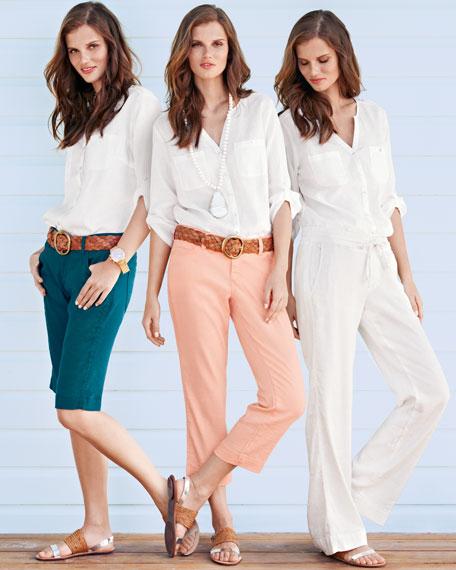 Monaco Linen Chloe Cropped Pants