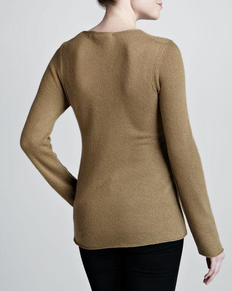 Bias-Knit Cashmere Sweater, Sage