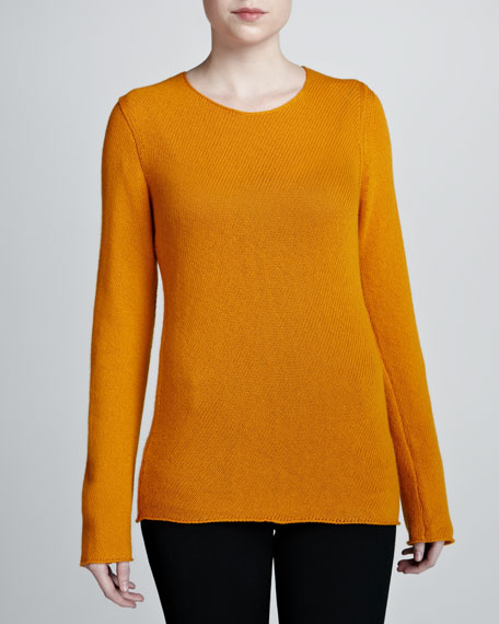 Bias-Knit Cashmere Sweater, Amber