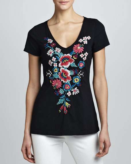 Tonya Embroidered Short-Sleeve Tee