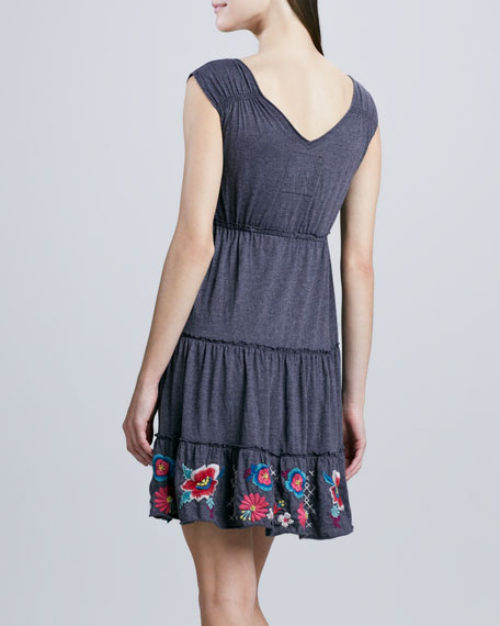 Tonya Tiered Embroidered Jersey Dress