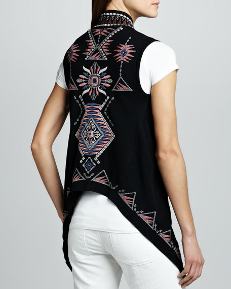 Tierra Embroidered Drape Vest
