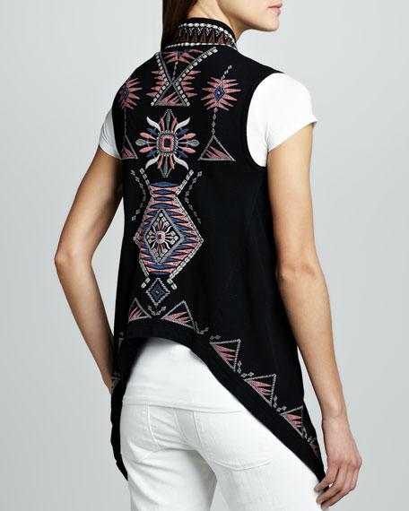 Tierra Embroidered Drape Vest